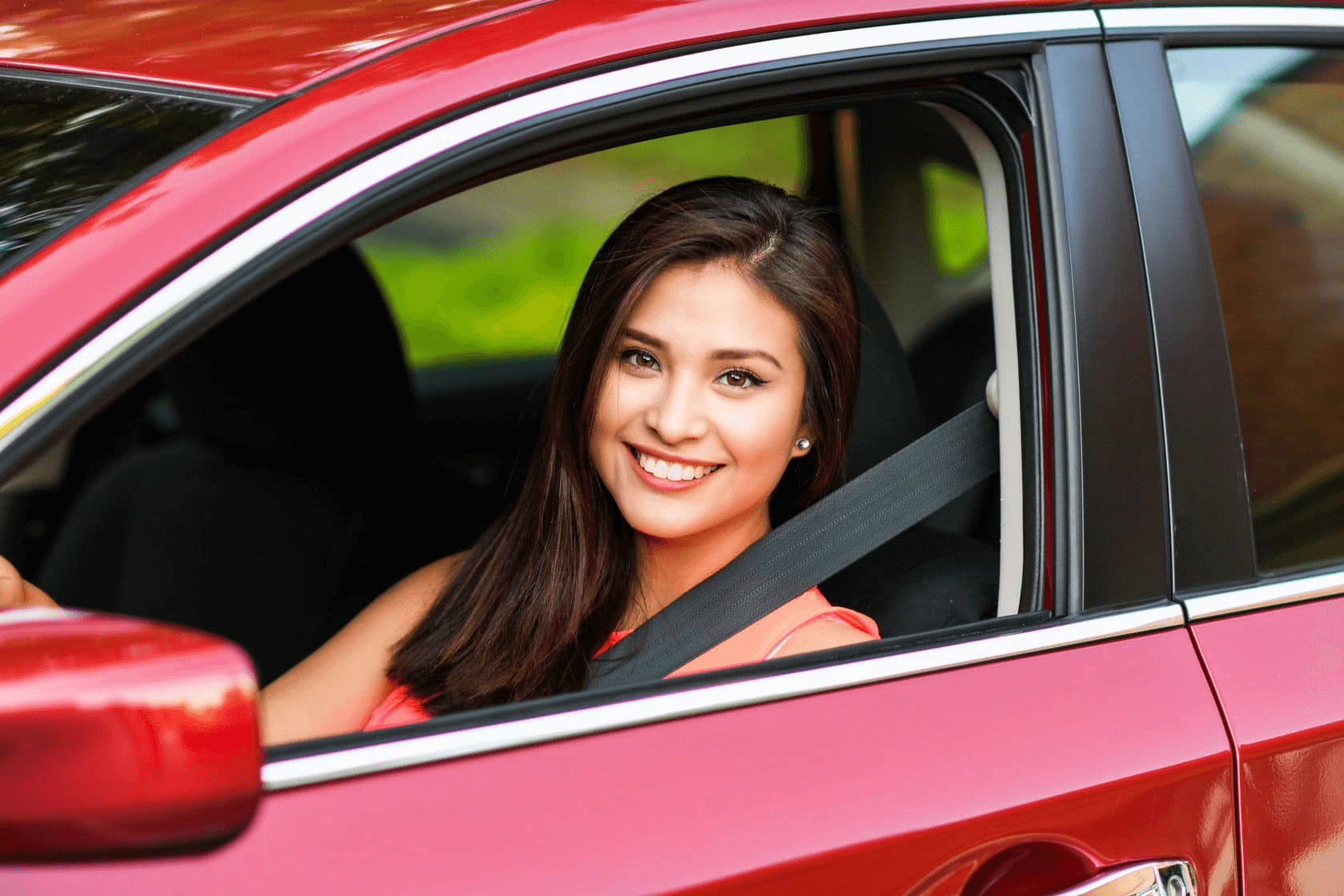 Auto Ins Brunette-Teen-in-Red-Car-1